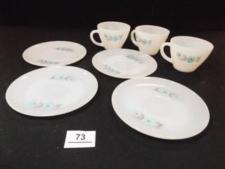 Fire King Bonnie Blue Saucers  4  Cups  3