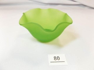 Green Glass Ruffle Edge Bowl
