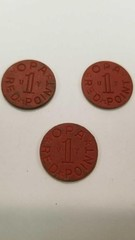 3 WWII OPA RED RATION TOKEN