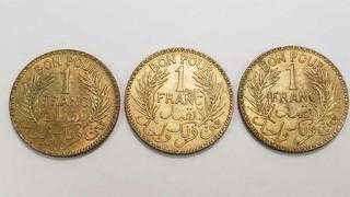 3 Tunisia Franc Coins 1941