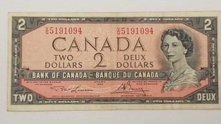 1954 Canada Two Dollar Bank Note