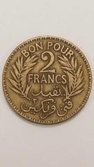 1 Tunisia 2 Francs Coins 1926