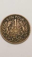 1 Tunisia 1 Franc Coin 1926