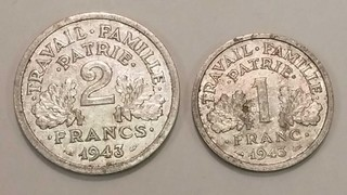 2 Coins France Aluminum 1943