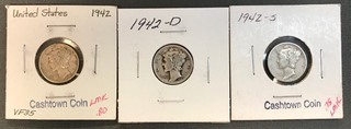 Three Mercury Dimes - 1942, 1942-D, & 1942-S