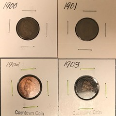 Four Different Indian Head Cents - 1900, 1901, 1902, & 1903