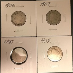 Four Different Liberty Nickels - 1906, 1907, 1908, & 1909