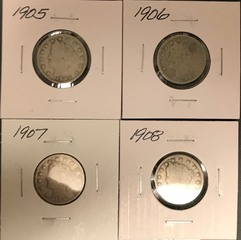 Four Different Liberty Nickels - 1905, 1906, 1907, & 1908