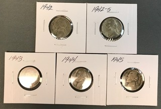 Five Different Silver War Nickels - 1942, 1942-S, 1943, 1944, &1945