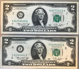 Two Different 1976 $2 Federal Reserve Notes