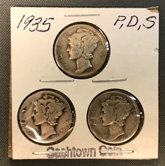 Three Mercury Dimes - 1935, 1935-D, & 1935-S