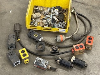 Tote Of Assorted Commercial Electrical Supplies