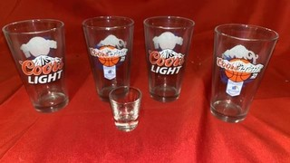 4 COORS LIGHT KANSAS JAYHAWKS GLASSES AND 1 SHOT
