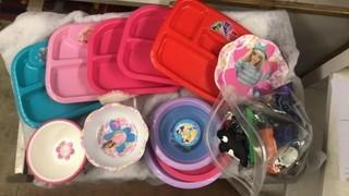 SET OF LITTLE GIRLS PLATES & BOWLS & BAG OF TOYS