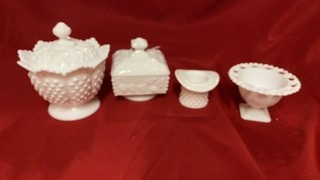 4 MILK GLASS CONTAINERS