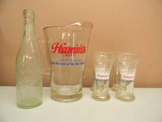 ANTIQUE PRE PROHIBITION HAMM ST. PAUL BEER EMBOSSED BOTTLE & VINTAGE HAMM'S BEER PITCHER & 4 GLASSES