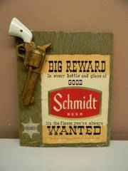 VERY! VERY! RARE! VINTAGE SCHMIDT BEER (BIG REWARD, WANTED) ADVERTISING SIGN! - RARE!!!!! - APPROX 12