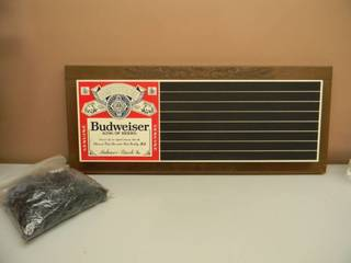 VINTAGE 1979 BUDWEISER BEER SLATEBOARD SIGN CAN USE CHALK - WITH 100s OF LETTERS! - LOOKS ALMOST NEW! - APPROX 34