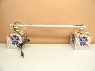 VINTAGE HANGING PABST BLUE RIBBON BEER LIGHT - RARE! - WORKS! - SEE PICTURES!