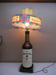 AWESOME VINTAGE LARGE SEAGRAM'S 7 CROWN LAMP WITH SHADE - WORKS! - APPROX 36