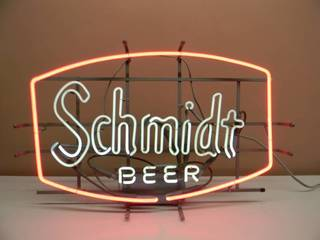 VINTAGE SCHMIDT BEER NEON LIGHT! - AWESOME OLD SCHOOL PIECE! - WORKS! - APPROX 29