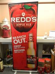 "REDDS - Retractable display banner stand / easy to set up and take down! OR CAN BE HUNG! - LARGE VERY COOL! APPROX 30"" X 80"" - SEE PICTURES!"