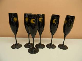 6 VINTAGE CELESTIAL SUN, MOON AND STARS FLUTED CHAMPAGNE / WINE GLASSES - COBALT BLUE - NICE! - SEE PICTURES!