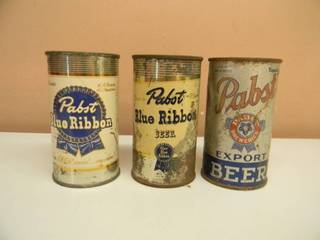 3 VINTAGE STEEL PUNCH TOP PABST BLUE RIBBON BEER CANS - SEE PICTURES!