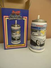 BUDWEISER CLASSIC CAR SERIES STEIN 1956 FORD THUNDERBIRD WITH COA & BOX! - NEW! - NICE! - SEE PICTURES!