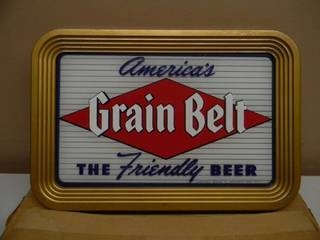 VINTAGE 1950s NEW OLD STOCK / STILL IN THE BOX! GRAIN BELT BEER SIGN! - AWESOME PIECE! - NEVER SEEN ONE THIS NICE! - METAL FRAME AND BACK! - APPROX 16