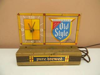 VINTAGE HEILEMAN'S OLD STYLE BEER PURE BREWED CASH REGISTER TOPPER LIGHTED BEER CLOCK BAR SIGN - WORKS! - VERY COOL PIECE! - SEE PICTURES!