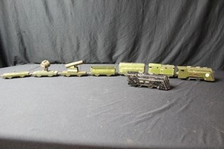 7pc. Military Toy Train, Plus Another Engine