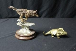 Bronze Figure of a Wolf & a Small Brass Animal