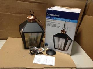 Valley Forge 3-Light Matte Black with Washed Copper Accents Outdoor Hanging Pendant in good condition