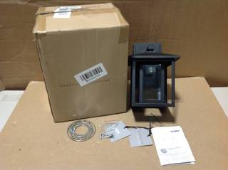 Hunnington 1-Light Black Outdoor 11 in. Wall Lantern Sconce by Sea Gull Lighting in good condition