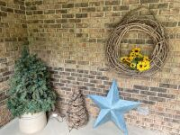 Crock with tree, grapevine tree, tin star, grapevine wreath