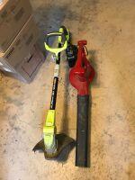 Ryobi 18v trimmer; toro electric blower