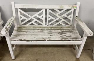 Rough Wooden White Bench 51.5x26