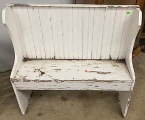 Rough White Bead Board Back Bench 36.5x12x36