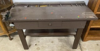 Brown Work Bench With One Drawer And Contents With