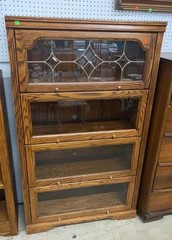 4 Section Lawyers Bookcase Glass Front Doors 36x