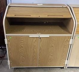 Two Door Roll Top Rolling Cabinet 42x24x45