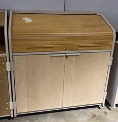 Two Door Roll Top Rolling Cabinet With Shelving
