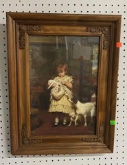 Wooden Framed Photo Child And Dogs 17x22