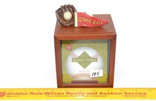 Russ Brand Wooden Box Baseball Holder -