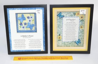 (2) Framed Shadowbox Poems - A Grandmothers