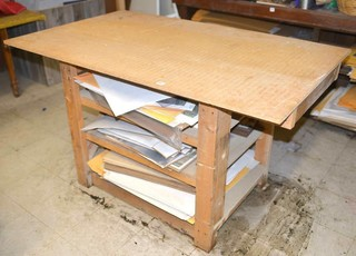 Wooden Work Table - Contents are NOT Included -