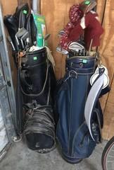 2 Golf Bags & Misc Golf Clubs