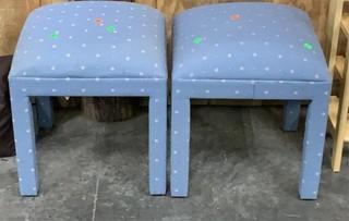 2 Blue Upholstered Stools