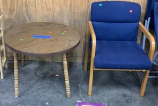 Round Top Wooden Table, Wooden Waiting Room Chair
